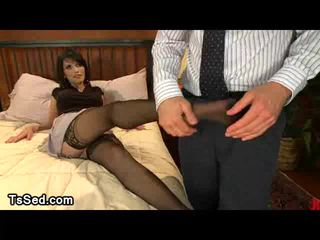 Stunning Eva Lin plays with guys cock