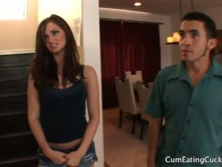Cum Eating Cuckolds: Lily carter's husband eats a juicy cream pie !