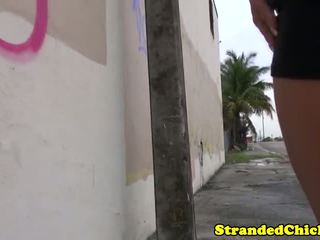 Hitch hiking latina teen public drilling