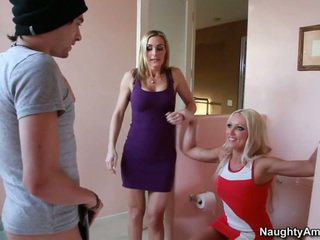 Two horny moms taking care of a son't friend