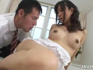 Asian babe has her furry pussy banged