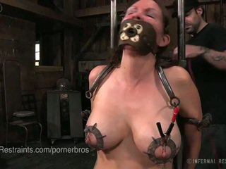 brunette, big boobs, torture, painful