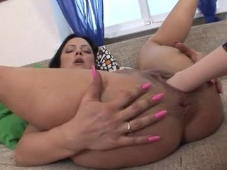 Brutal fists in both of her pussies