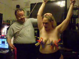 Whipping the clothespins right off this blonde's titties Video