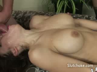 Babe gagging hot facefuck
