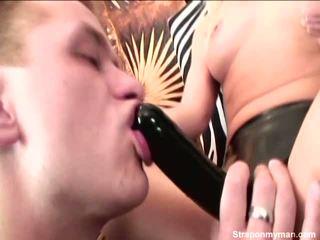 This Blonde Nymph Is Fucking Bloke Around Big Strapon