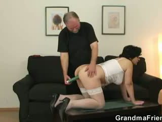 Granny gets her hairy hole filled with two cocks