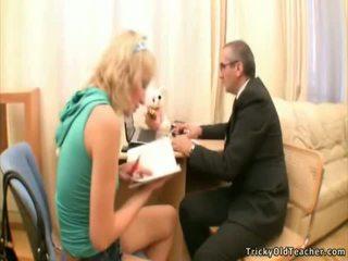 Elder Teacher And Little Beautiful Schoolgirl Have Funtime
