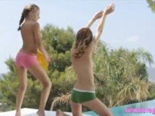 Two Glamour Teens Virginie And Alyssa A Dancing In Siesta