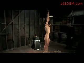 Slim Girl Getting Tied Up Fingered By Master Sitting On Dildo In The Dungeon