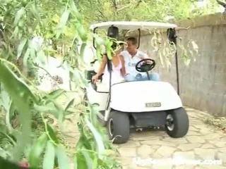 Screwed onto a กอล์ฟ cart