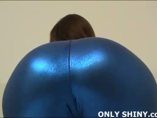 This tight blue spandex hugs my curves