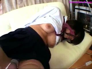 Schoolgirl Getting Her Legs Tied Stimulated With Vibrator Mouth Fucked Cum To Mouth On The Couch In The Room
