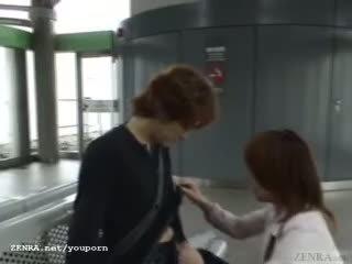 Subtitled warga jepun awam menghisap zakar dan streaking dalam keretapi