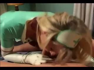 Blonde latex nurse fucking in gloves and stockings