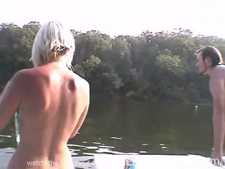 Extremely skinny blonde girl with tiny tits nervously,exposing herself