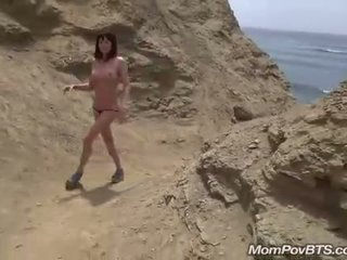 Spanish MILF gets nude at beach behind the scenes