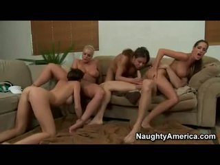 Bitchy Kortney Kane gets hot and wild in an awesome group bang on the couch