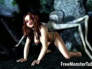 3D Cartoon Brunette Babe Fucked By An Alien Spider