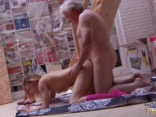 Grandpa Fucks Teen Fingers Her Tight Pussy Fucks Her.