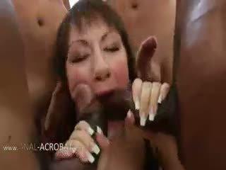 brunette, group sex, anal