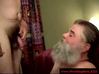 Old mature straight dilf takes facial