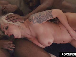 Pornfidelity Nina Elle Takes on Two Big Black Cocks.