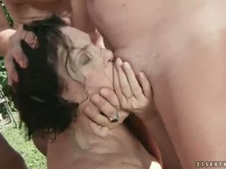 Piss loving granny gangbanged