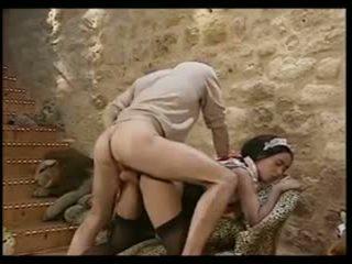 sexo grupal, francês, vintage, interracial