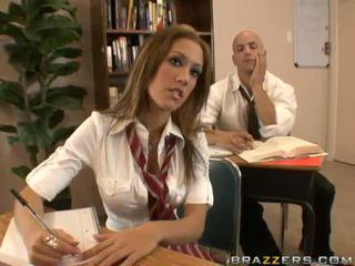 brunette, flashing, schoolgirl, boobs