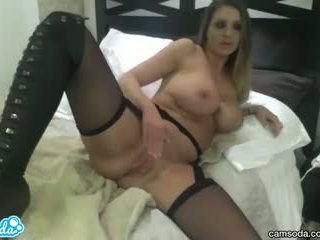 Hot latina with big ass and big tits massages her pussy and fucks her dildo