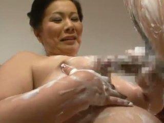 Mature Thai Chizuru Iwasaki Giving A Soapy Tugjob And Mouthjob