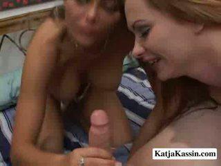 Katja and anna horny sluts milking a cock
