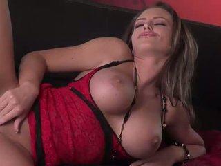 Hot ass brunette pornstar in red lace lingerie does striptease