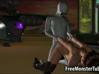 3D Babe Sucks Cock And Gets Fucked By An Alien