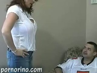 Hot milf mom sucking and stroking son for cum