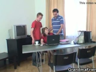 Threesome office fucking with granny <span class=duration>- 6 min</span>