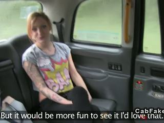 Tattoooed Brit giving rimjob in fake taxi