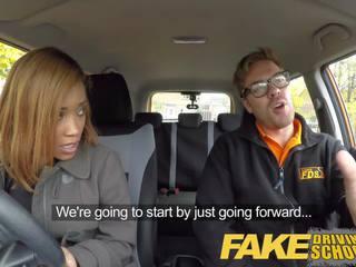 Fake Driving School Young Ebony Learner Enjoys Creampie