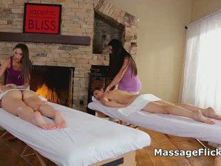Foursome lesbian pussy massage