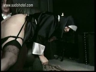 Older priest lift up skirt of naughty screaming nun and span