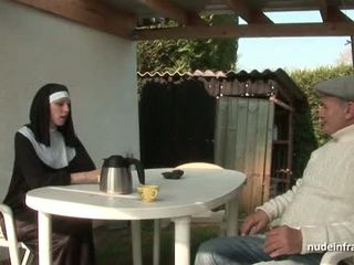 Young french nun fucked hard in threesome with Papy Voyeur