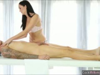 Two Sexy Masseuses Selma And Bianca Working On Hard Cock