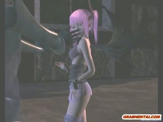 Cute 3D anime batgirl sucking cock