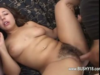 Girl with bushy cunt penetrated hard