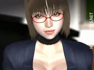 3D anime babe in glasses slurp cum