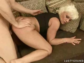 Naughty grandma enjoys hard sex