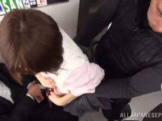 Nice Japanese schoolgirl fucked in a public place on the way to college