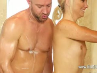 blowjob, shower, blonde, handjob