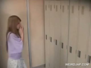 Fragile Asian Babe Changing Clothes In Locker Room